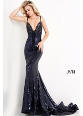 JVN by Jovani JVN05803 Navy Sequin Prom Dress