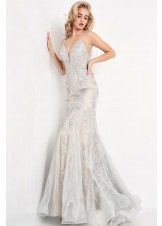 JVN by Jovani JVN06475 Plunge Neck Sequin Lace Gown