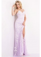 JVN by Jovani JVN06660 High Slit Embroidered Lace Dress
