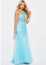 Jovani JVN33695 Beaded Keyhole Neck Mermaid Gown