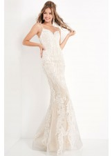 JVN by Jovani JVN65529 Ivory Embroidered Lace Evening Gown