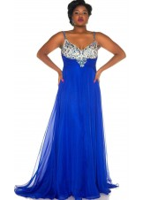 Mac Duggal 65053F Jeweled Floor Length Plus Size Gown
