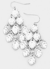 Silver Textured Metal Petal Cluster Vine Dangle Earrings