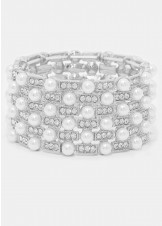 Crystal & Pearl Stretch Bracelet