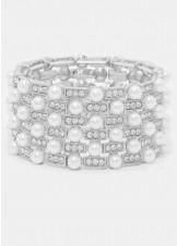 Crystal & Pearl Stretch Bracelet