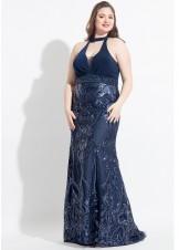 Rachel Allan 6322 Plus Size Sequin Jersey Halter Gown