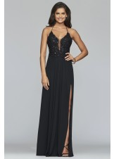 Faviana S10228 Sultry Plunge Chiffon Gown