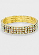 AB Gold Three 3-Row Rhinestone Stretch Bracelet