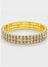 Gold 3-Row Rhinestone Stretch Bracelet