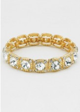 Gold Crystal Rhinestone Stretch Bracelet