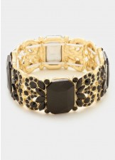 Black & Gold Crystal Stretch Bracelet