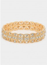 Gold Crystal Metal Stretch Bracelet