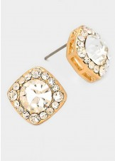 Gold Clear Round Glass Crystal Cut Quad Stud Earrings