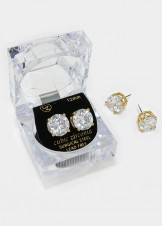 12 mm Round Cut Crystal Cubic Zirconia CZ Stud Earrings