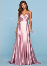 Sherri Hill 53299 Ruched Wrap Satin Gown