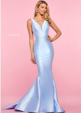 Sherri Hill 53660 Light Blue Mikado Mermaid Gown Size 4