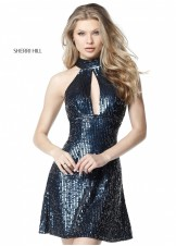 Sherri Hill 51354 Sequin Keyhole Halter Party Dress