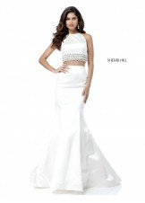 Sherri Hill 51581 Pearl Accented Satin 2 Pc Gown