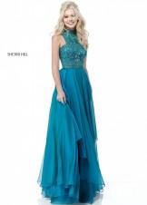 Sherri Hill 51722 Beaded High Neck Chiffon Gown