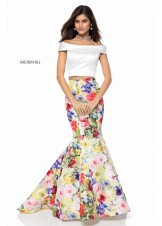 Sherri Hill 52005 Floral Print Two-Piece Mermaid Gown
