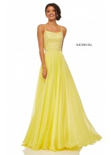 Sherri Hill 52591 Yellow Beaded Lace Up Back Chiffon Gown