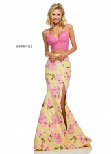 Sherri Hill 52635 Two Piece Floral Print Mermaid Dress