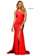 Sherri Hill 52902 Ruched One-Shoulder Gown