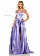 Sherri Hill 52921 Satin V-Neck Halter Top Gown