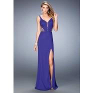 La Femme 22245 Enchanting Deep V-Neck Jersey Prom Gown