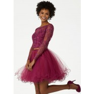 Mori Lee 33003 Long Sleeve Two Piece Party Dress