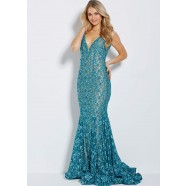 Jovani 57046 V-Neck Lace Mermaid Gown