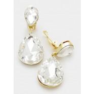 Crystal Double Teardrop Clip On Earrings