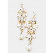 Crystal Rhinestone Triple Teardrop Chandelier Earrings