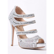 Sweetie's Jewel Silver Crystal Jeweled Strappy Pump