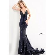 JVN by Jovani JVN05803 Navy Sequin Prom Dress