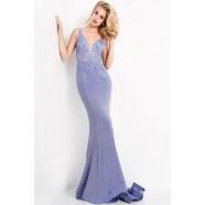 JVN by Jovani JVN06505 Shear Floral Bodice Prom Dress