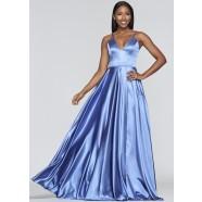 Faviana S10209 Long V-Neck Charmeuse Dress