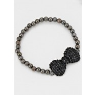 Hematite Black Crystal Bow Stretch Bracelet