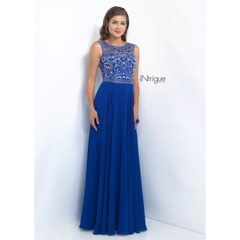 Blue Intrigue 152 Unique Fully Beaded Bodice Prom Dress for $319.00