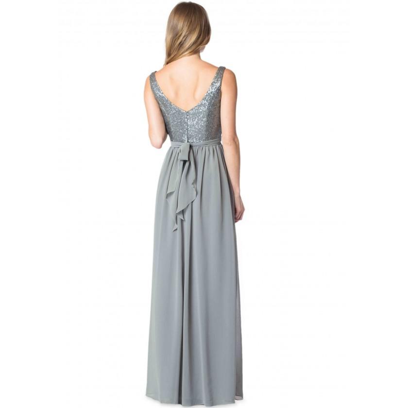 Gray, Grey Bari Jay 1613 Elegant Sequin & Chiffon Bridesmaid Dress for $238.00