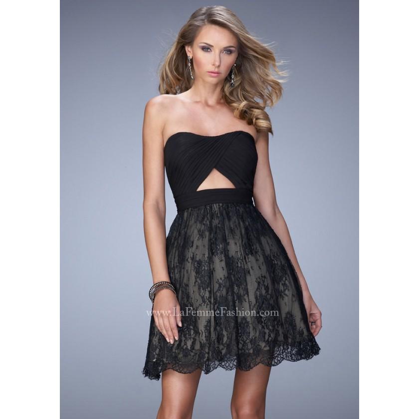Blue, Green La Femme 21816 Keyhole Lace Party Dress for $250.00