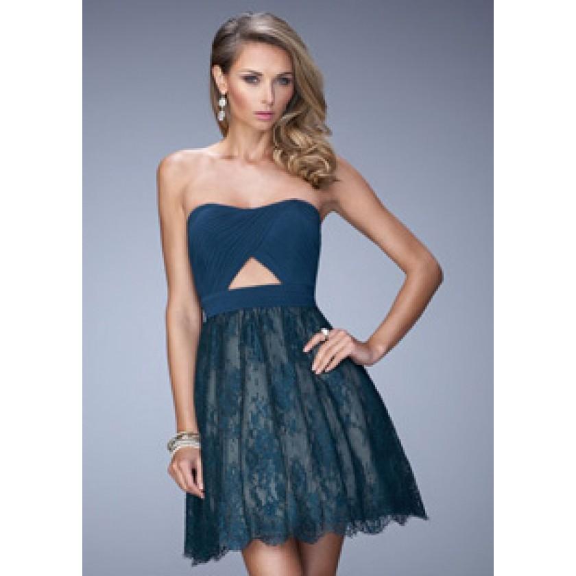 La Femme 21816 Lace Short Dress