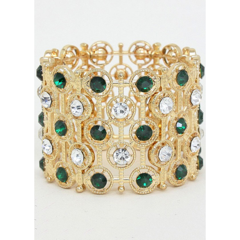 Gold, Green Sparkly Stretch Bracelet for $38.00