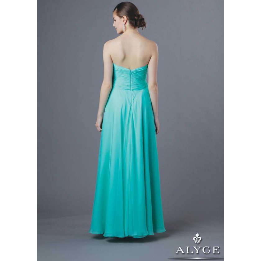 Green Alyce B'Dazzle 35595 Ruched Chiffon Gown for $198.00