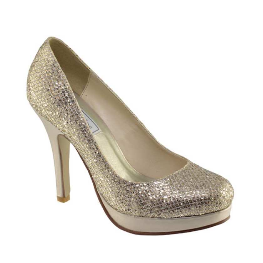 Champagne Candice by Touch Ups Glitter Pumps for $62.00