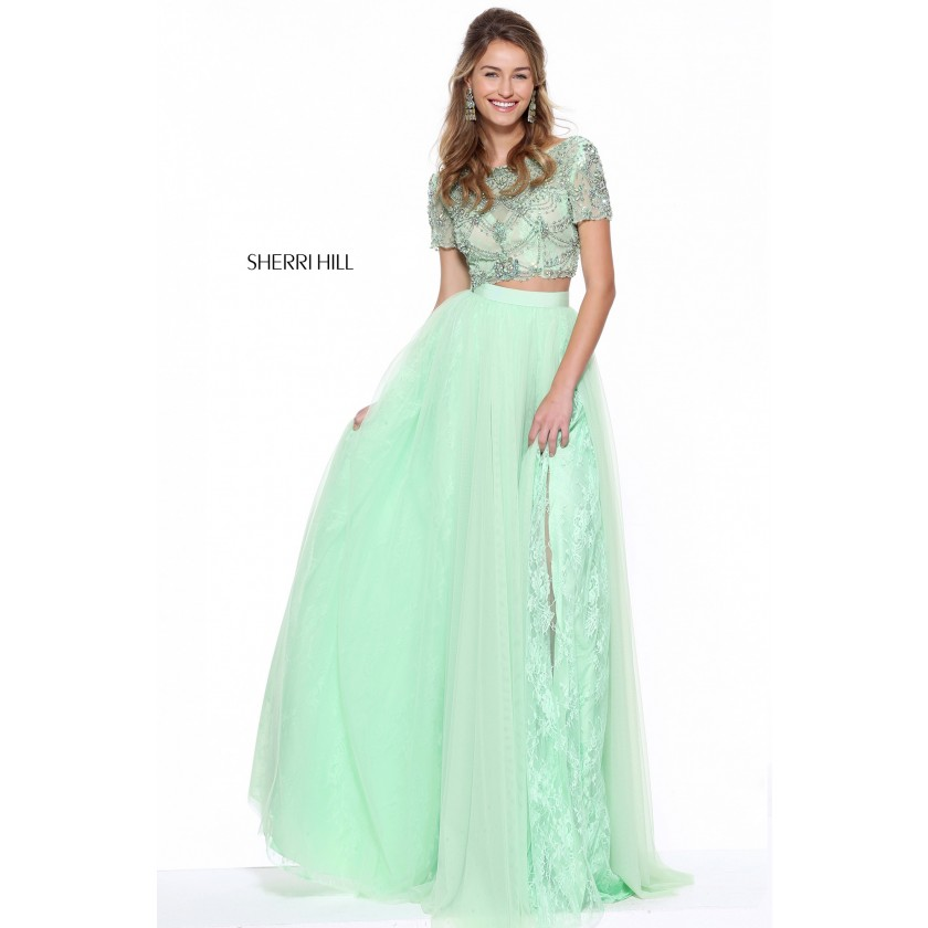 Blue Sherri Hill 50857 Jeweled Crop Top Gown for $750.00