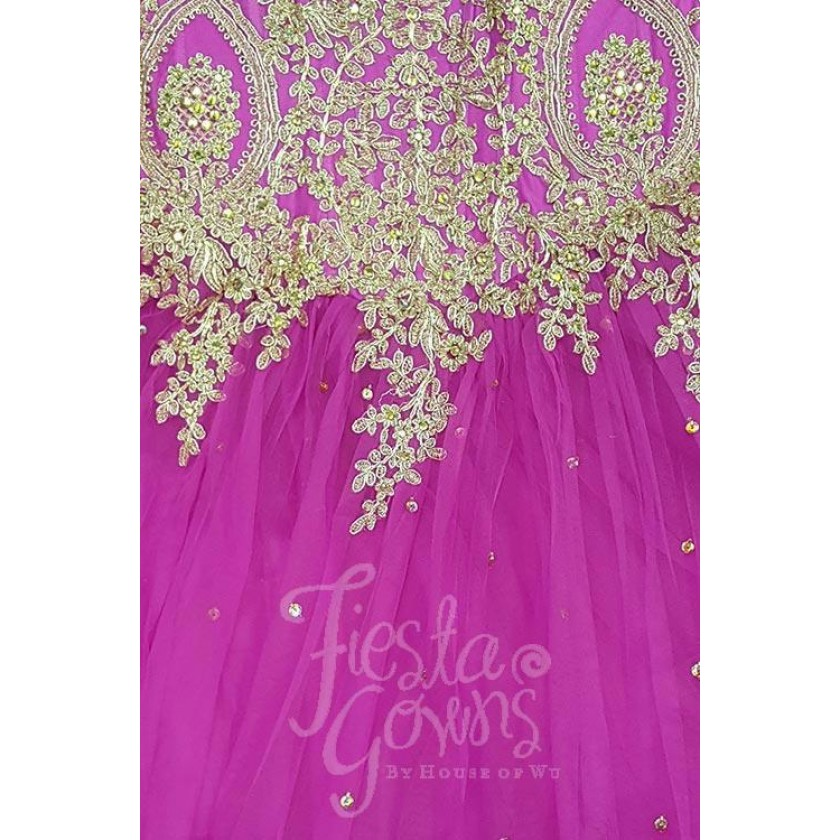 Pink Fiesta 56286 Elegant Gold Embroidered Ball Gown for $430.00