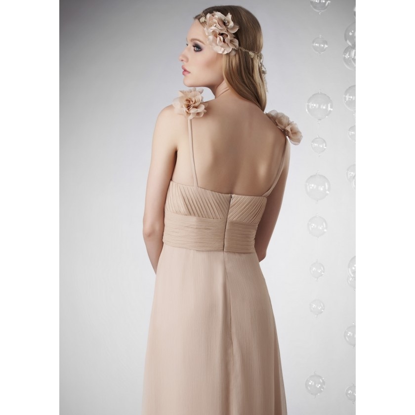 Nude Bari Jay 702 Ruched Chiffon Gown for $250.00