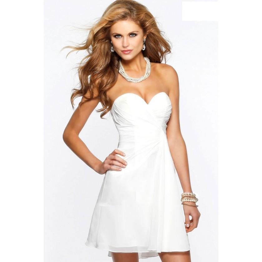 Ivory, White Faviana 7075A Short Sweetheart Neck Chiffon Dress for $198.00
