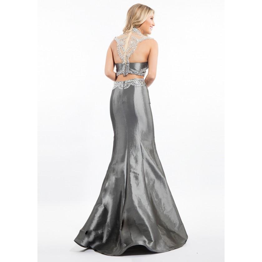Gray, Grey Rachel Allan 7145 Jeweled Two Piece Taffeta Gown for $538.00